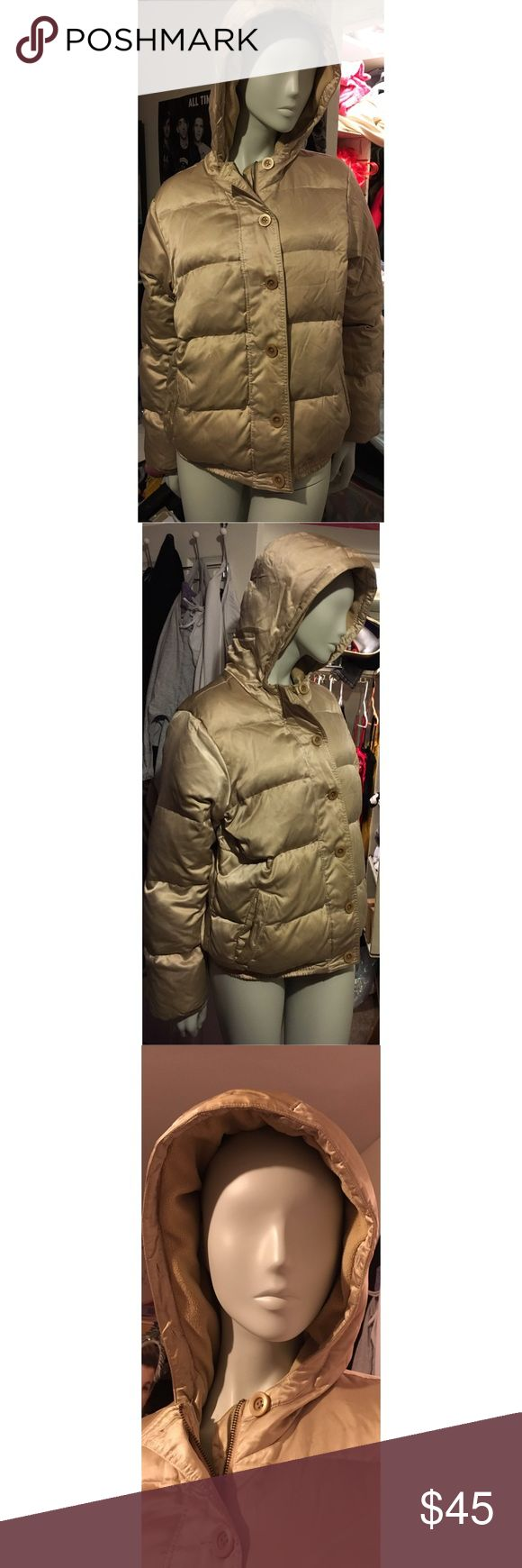 Champagne winter Puffer jacket Champagne colored. All buttons and zipper work well. It's a little beaten up but nothing a good trip the the dry cleaners can't fix. Old Navy Jackets & Coats Puffers