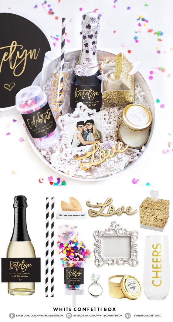 Asking Bridesmaid Gift Box  Ask Bridesmaids  by WhiteConfettiBox