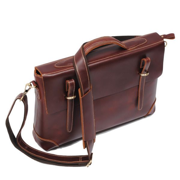 "Handmade Leather Briefcase / 14"" Laptop or 15"" MacBook Bag in reddish brown"
