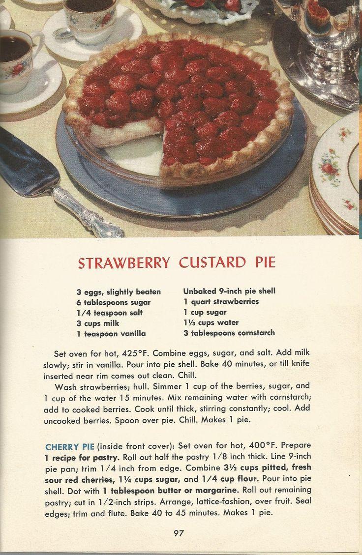 Strawberry Custard Pie, Vintage Pie Recipes, 1950s Pie Recipes