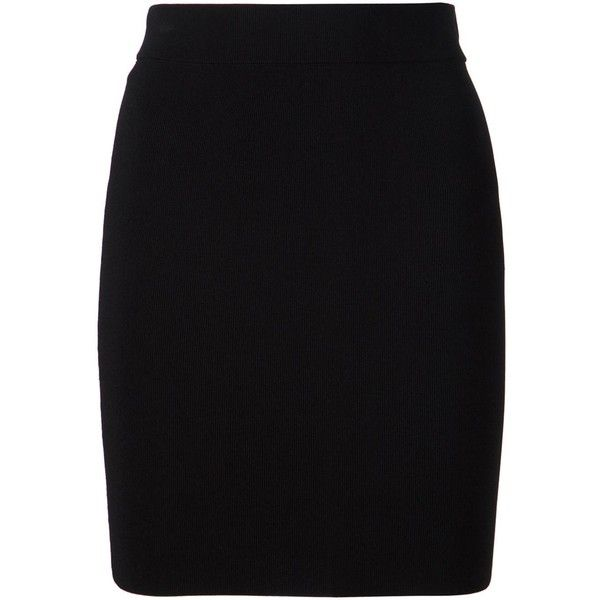 T By Alexander Wang Fitted Skirt ($340) ❤ liked on Polyvore featuring skirts, mini skirts, black, black fitted skirt, t by alexander wang, black skirt, high-waisted skirts and high waisted mini skirt