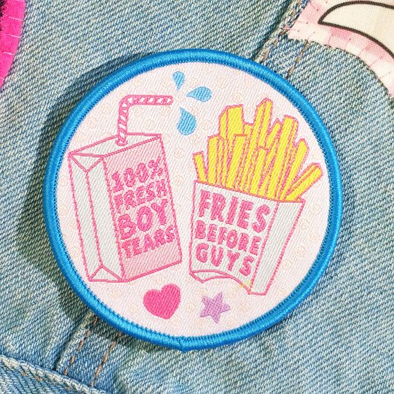 Girl Gang patches by #jadeboylan on Etsy - Fries Before Guys + 100% Fresh Boy Tears