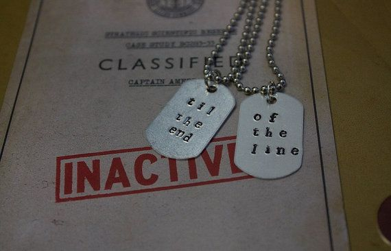 Til the End of the Line Captain America Winter Soldier Inspired Matching BFF Dogtag Necklaces