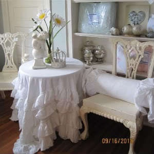 SHABBY FRENCH COUNTRY COTTAGE CHIC WHITE PETTICOAT LAYER TIER RUFFLES  TABLECLOTH