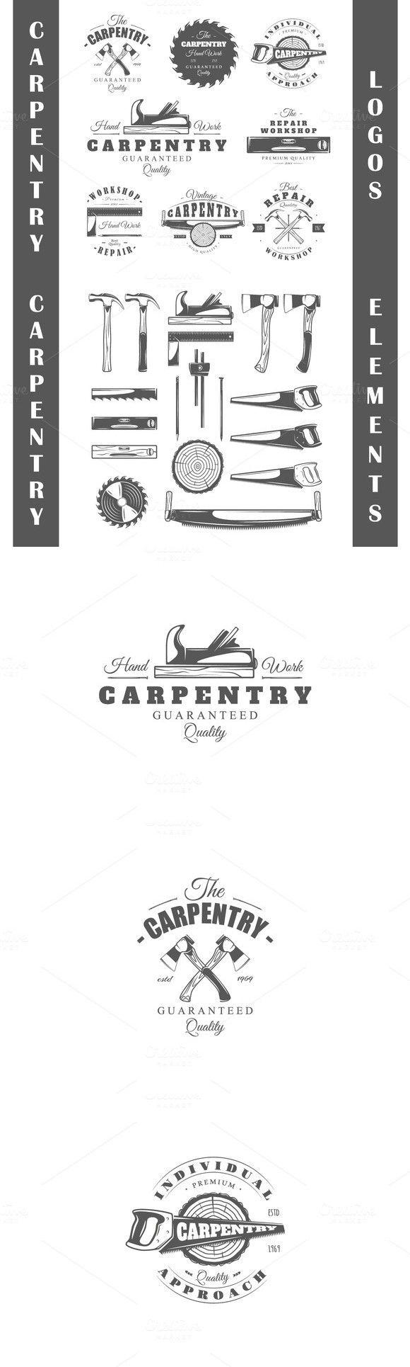 8 Carpentry logos templates Vol.2. $10.00