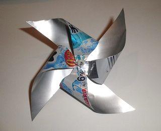 アルミ缶 アート 風車