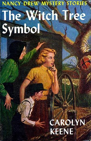 ND#33. 1955 cover art. Nancy, Bess, and George travel to Pennsylvania to search for missing furniture and uncover the meaning behind the witch tree symbol hex sign that keeps appearing. Their search for a clue in an old table leads to solving an ancient mystery and helps reunite a young Amish woman with her family.