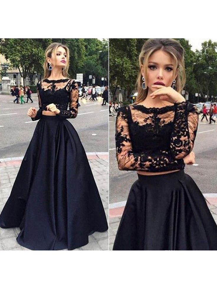 Black Long Sleeve Tulle Elastic Woven Satin Appliques Lace Elegant Two Piece Ball Dress