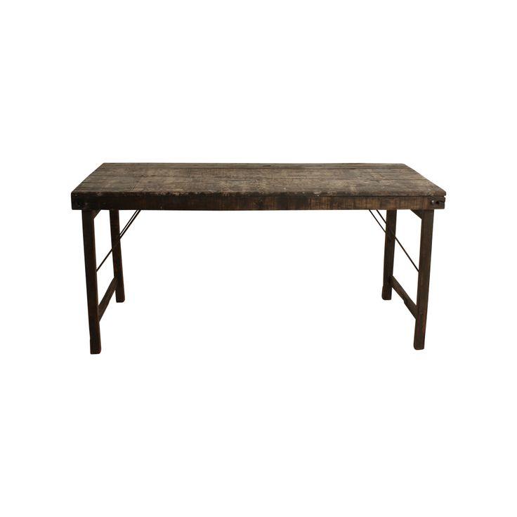 Ausklappbarer Esstisch aus Altholz / Foldable table from scrap wood. Dieser grobe Tisch im Industrie-Look setzt besonders in schlichten Räumen einen starken Akzent. Die Tischplatte aus aufbereitetem Altholz steht auf einklappbaren Stahlbeinen. So ist der Tisch bei Bedarf schnell aus dem Weg. AVAILABLE AT The Harrison Spirit, Morgartenstrasse 22, 8004 Zürich