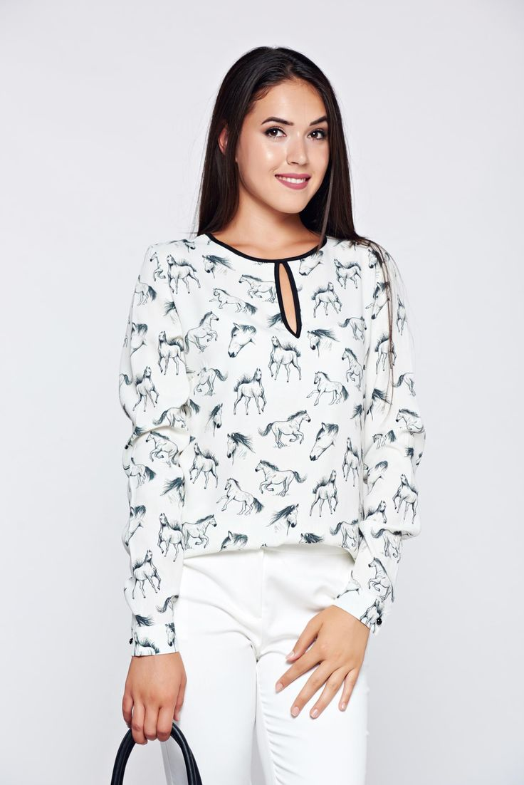 PrettyGirl white office easy cut women`s blouse long sleeve, print details, easy cut, long sleeves, nonelastic fabric