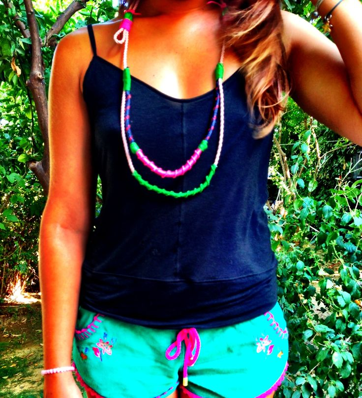 Colorful DIY rope necklace!