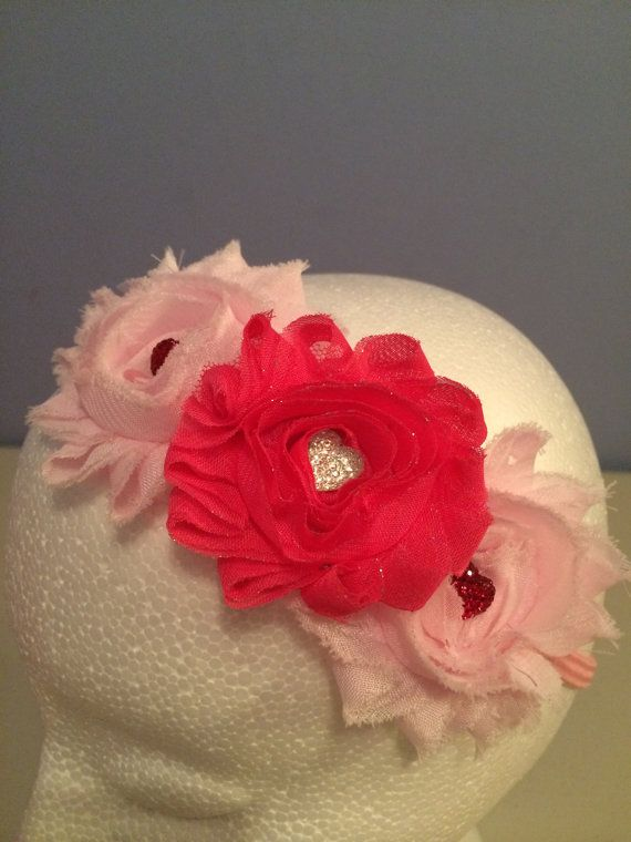 Sparkly Hearts Shabby Flower Headband by LittleBugBling on Etsy