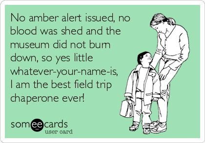 No amber alert issued, no blood was shed and the museum did not burn down, so yes little whatever-your-name-is, I am the best field trip chaperone ever!