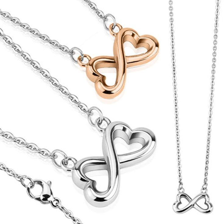 Edelstahl #Halskette #Collier Infinity Hearts silber oder roségold B001-2