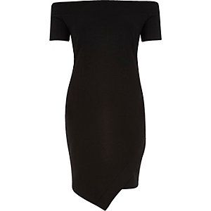 Black bardot wrap bodycon dress