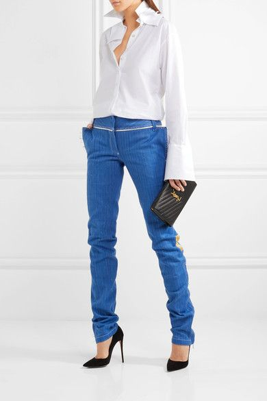 Blue denim, silver leather  Concealed hook, button and zip fastening at front  100% cotton; trim: 100% leather (Lamb); lining: 100% silk  Dry clean  Imported
