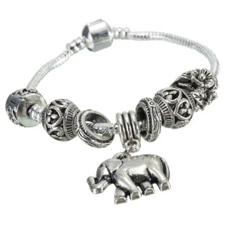 Charminer Vintage Silver Elephant Bracelet Hand Chain Jewelry Gift silver