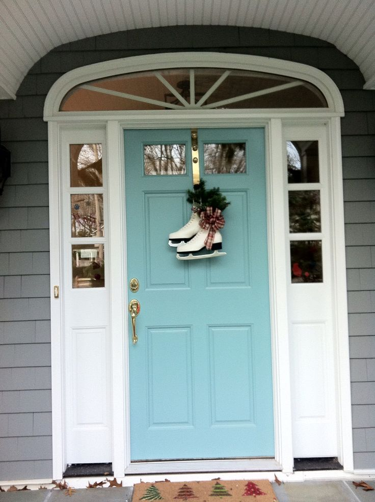 Front Door color: Sherwin Williams Drizzle, turquoise, Aqua front doors, coastal style front doors