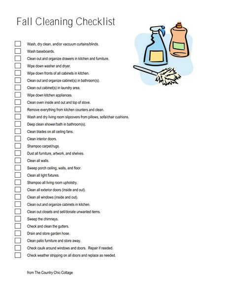 Fall Cleaning Checklist -- print your own FREE fall cleaning checklist and get your home ready for the holidays today!