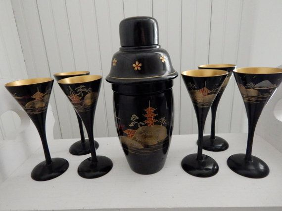 Japanese Lacquer Cocktail Shaker and Six Glasses - Asian Design Vintage Beverage Drinkware Barware - Set of Seven Pieces