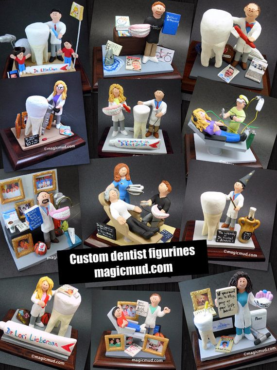 Dentist Gift  www.magicmud.com    1 800 231 9814    magicmud@magicmud.com $225  Personalized #Dental Gift Figurines, custom created just for you!    Perfect present for all #Dentist,  male or female, a gift for birthdays, graduations, anniversaries, new office openings, retirement,  as a thank you to a great dentist!  Prosthodontist, Periodontist, Oral Surgeon, Endodontist, Oral Hygienist, Pedodontist, Dental Assistant, General Dentist, any occupation made to to order by #magicmud