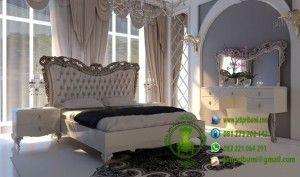 Set Tempat Tidur Ukiran Model Terbaru www.jatipribumi.com warna putih kombinasi warna silver menawarkan tampilan set kamar tidur yang mewah dan cantik sangat sempurna bila di tempatkan di kamar tidur anda.