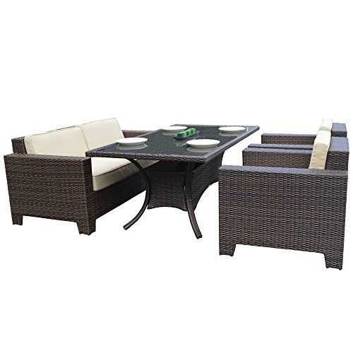 Anself 15 pcs Garden Furniture Lounge Set Corner Sofa Table Poly