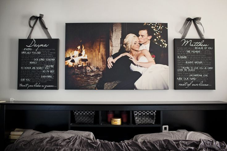 Our canvas vows and image from our wedding day above our bed! www.daynamaephotography.com