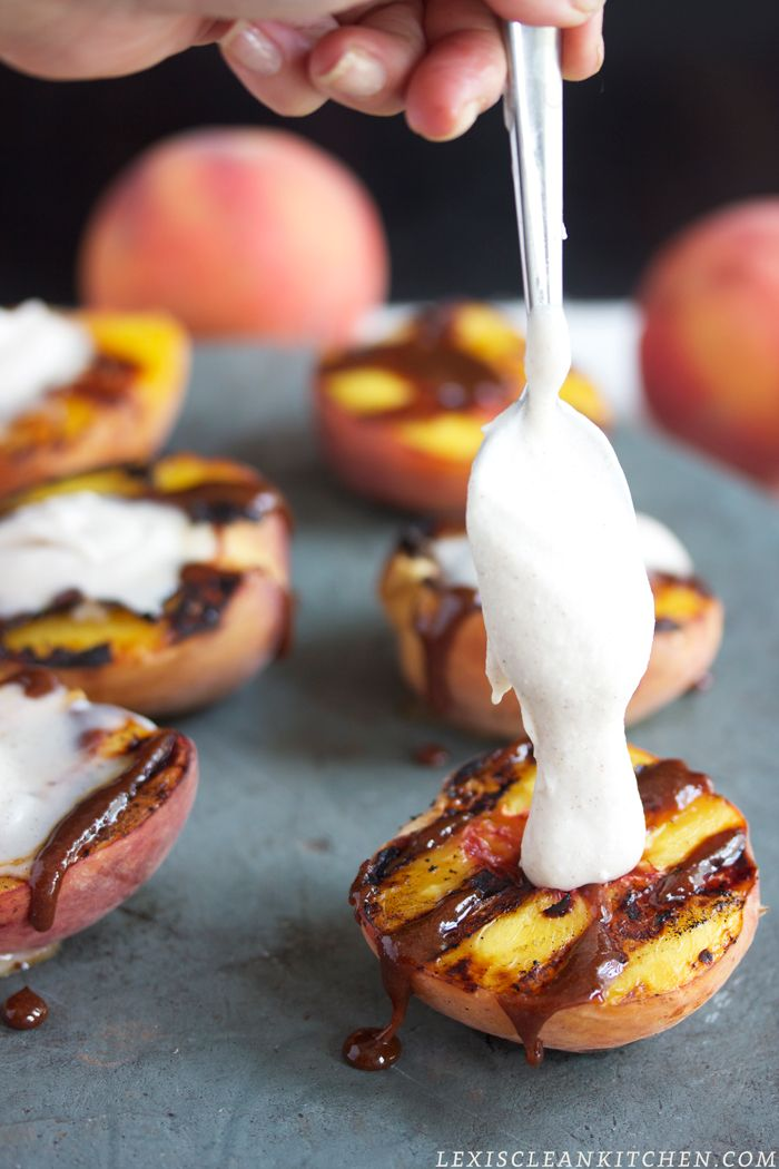 Grilled Peaches with Cinnamon Protein Whipped Cream and Caramel