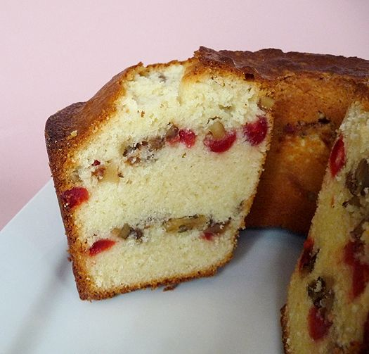 Russian Pound Cake from Brown Eyed Baker - substituted Door County cherries (no Maraschino on hand) and Fage greek yogurt (ditto no cream cheese) but it smells amazing already!