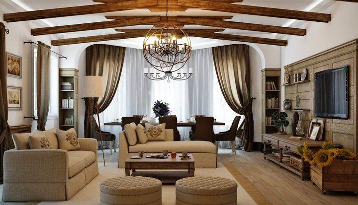 Теплый и комфортный интерьер гостиной