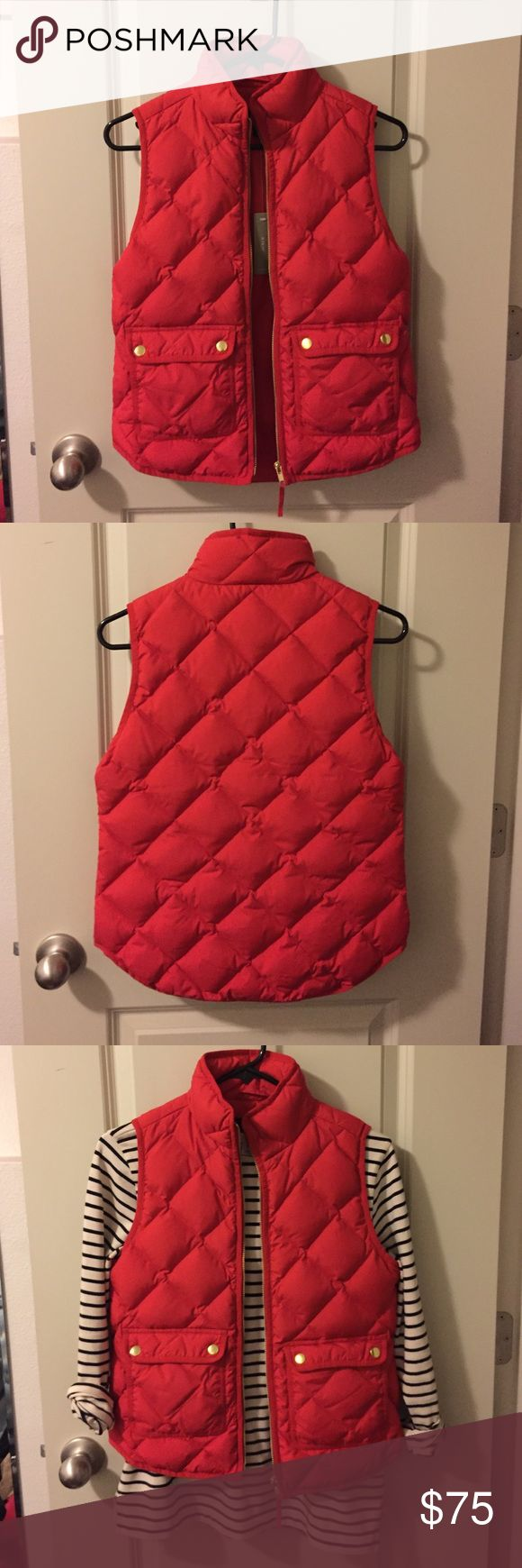 """J Crew Excursion quilted down vest I love this vest but it's too small on me so it's never been worn, it even still has the tag! It's really comfortable and the red is a true red, J Crew called it """"dark poppy"""". J. Crew Jackets & Coats Vests"""