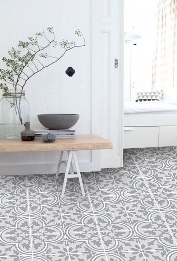 Vinyl Floor Tile Sticker – Floor decals – Carreaux Ciment Encaustic Trefle 2 Tile Sticker Pack in Sand