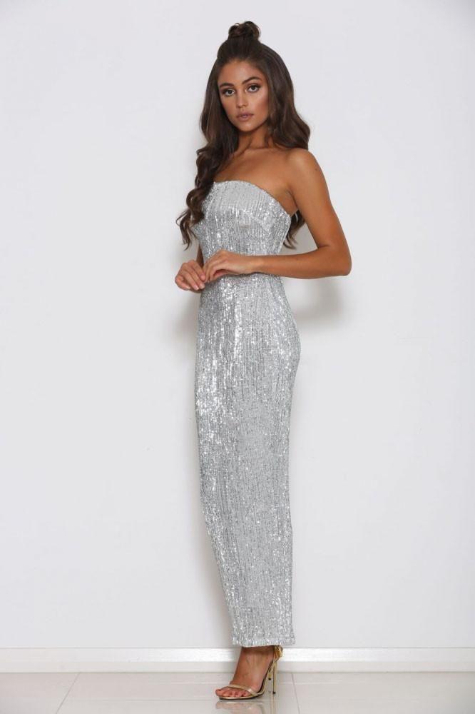8621916e Hilton Strapless Sequin Midi Dress - Silver - MESHKI | Formal ...