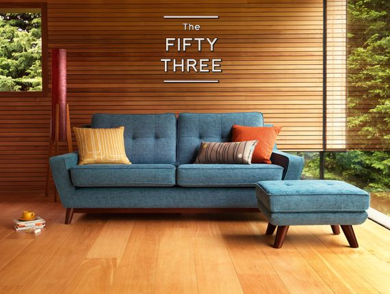 G Plan Vintage Range 'The Fifty Three'. Inspired by G Plan's iconic furniture of the 50s and 60s, designed in collaboration with Hemingway Design. In 1953 Donald Gomme of E. Gomme Ltd produced a range of modern furniture for the entire house which could be bought piece by piece according to budgets. Designs were available for several years so people could collect them slowly. s | The Fifty Three