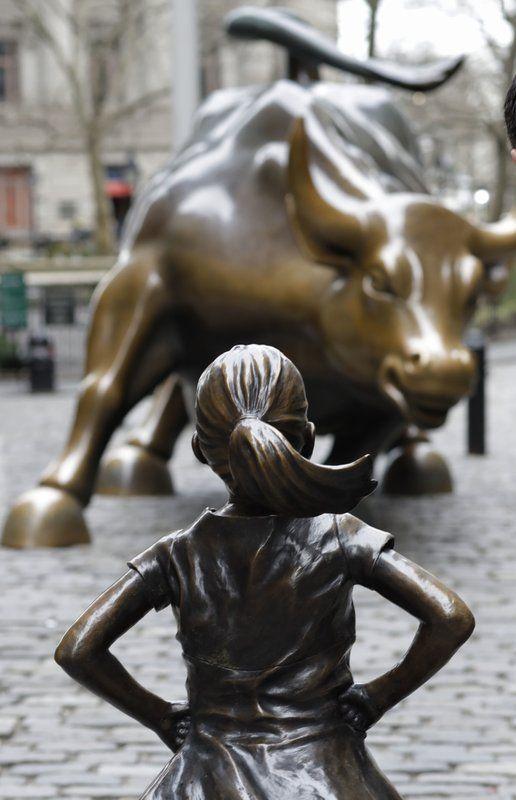 Fearless Girl - Kristen Visbal. Installed across from Wall Street's famous raging bull.