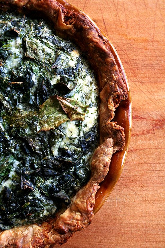 Creme Fraiche is the key for a beautiful piece of quiche: Quiche with Swiss Chard