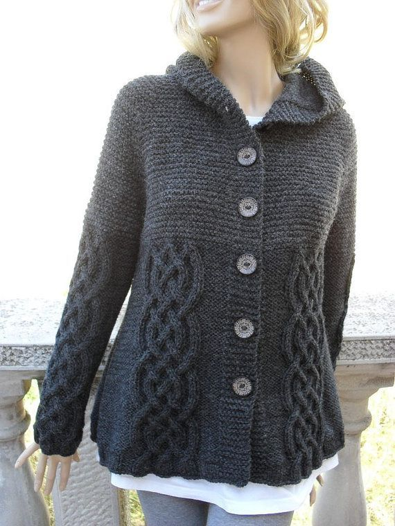 Cabled Jacket w/hood, Inspiration photo: Garter stitch top-down square yoke; reverse stockinette and Saxon braid. Big buttons. I like this in dark grey.