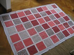 Name:  crocheted-quilt. Fabric blocks w/crocheted edges by tron80 of the Quilting Board.