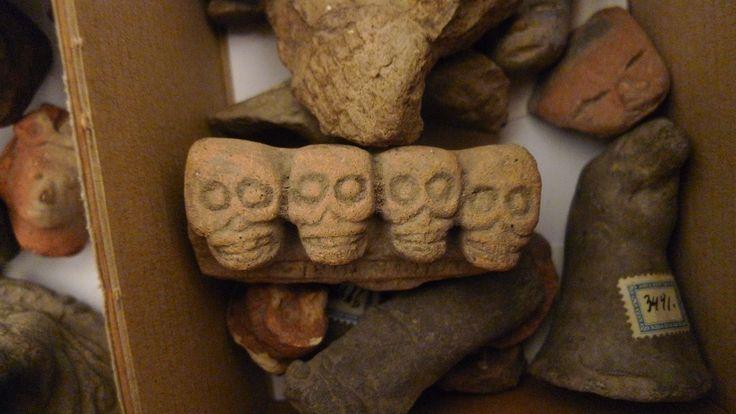 Row of aztek craniums, we're getting ready for the celebration of Dia de Muertos.