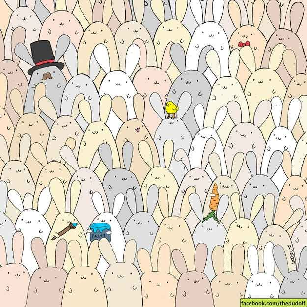 From the illustrator who brought you the hidden panda, Gergely Dudás (aka Dudolf) uploaded a new photo just in time for Easter: can you find the hidden egg?