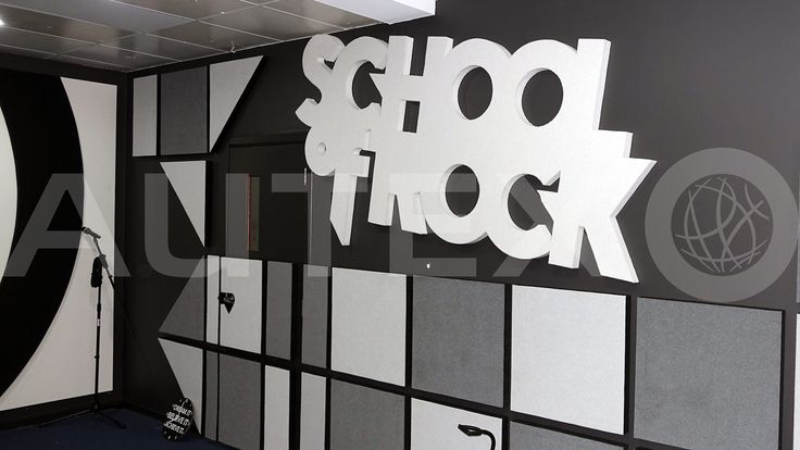 Autex Interior Acoustics - Quietspace® Panel wrapped in Vertiface® - Custom cut and direct fixed to wall - School of Rock, NSW, Australia - Acoustics in Education