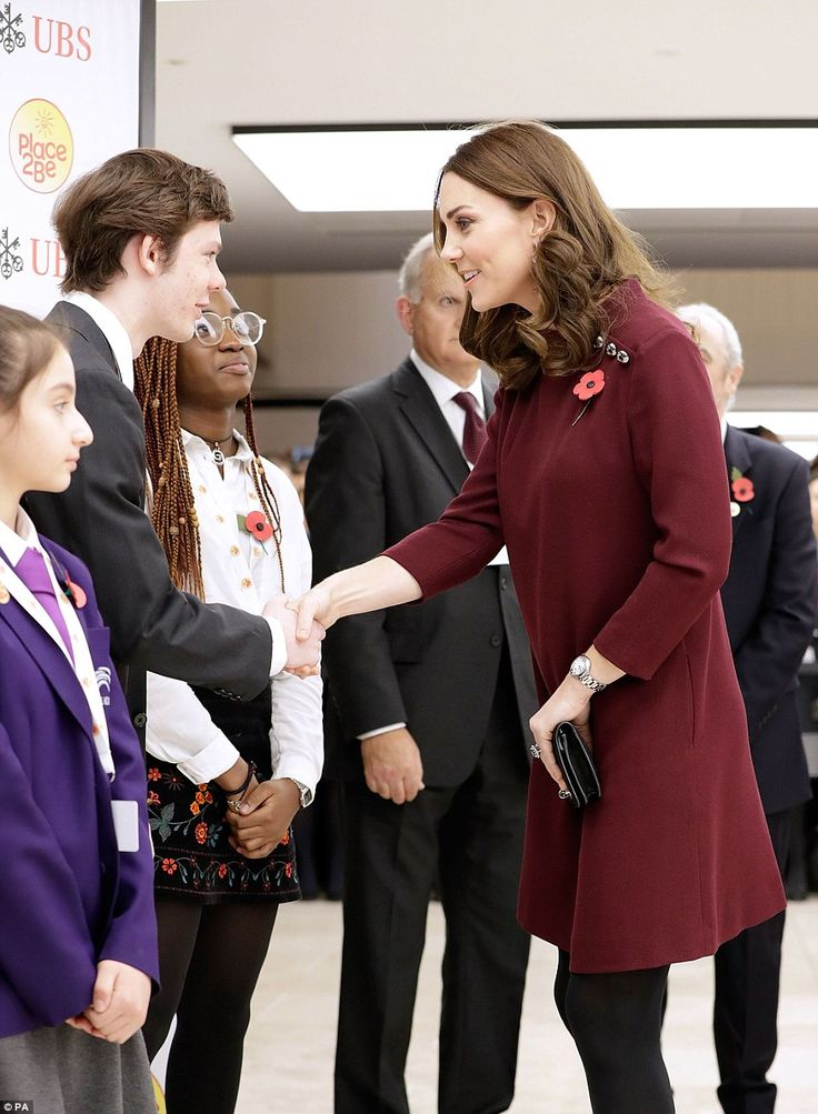 The Duchess of Cambridge meets pupils from The Bridge Academy at the annual Place2Be School Leaders Forum at UBS London