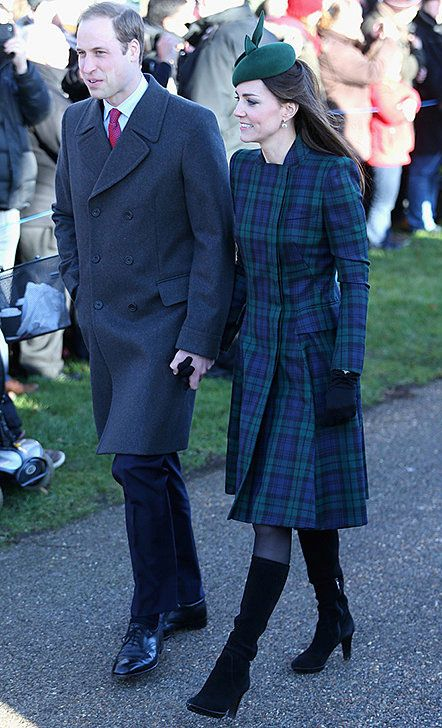 Prince William and Catherine, The Duchess of Cambridge look refined in a cashmere overcoat for him and an Alexander McQueen coat dress in Black Watch Tartan for her. Contemporary classics that are always in style.