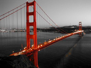 Black and White Photos with Color Accents | Golden Gate Bridge color- accented from Battery