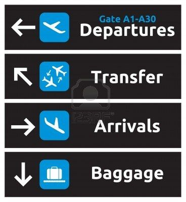 Arrival, departures, transfer and baggage airport signs Stock Photo - 15770391
