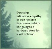 Expecting validation, empathy or true remorse from a narcissist is like going to a hardware store for a loaf of bread.