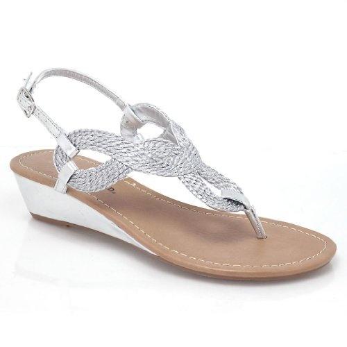 lenity metallic braided tribal sling back sandal wedge women shoes sullys http