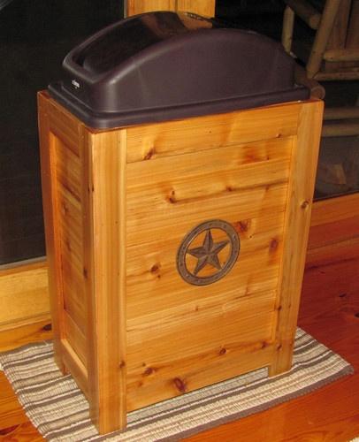 WOODEN TRASH CAN WASTE BASKET BIN 30 GAL WESTERN RUSTIC CABIN CEDAR DECOR