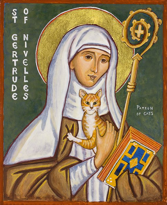 St Gertrude of Nivelles, Patron Saint of Cats - I would love to have a small inexpensive icon to hang over kitty's food bowl